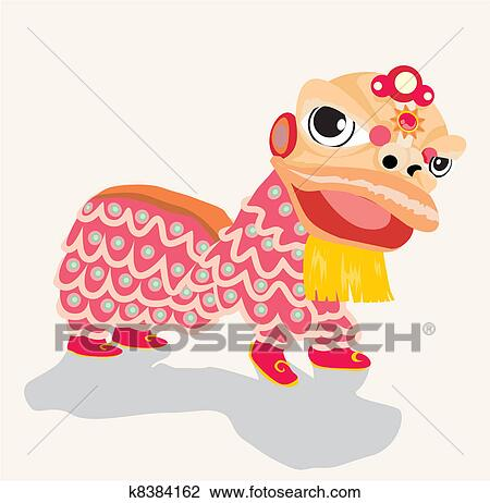 Clip Art of Chinese New Year lion dance and man with smile mask ...