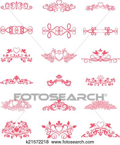 Clip art of pink decorative vector curly elements k21572218 search pink decorative vector curly elements with hearts and flowers for wedding card invitations junglespirit Gallery