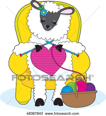 clipart of sheep knitting heart k8387843 search clip art rh fotosearch com knitting clip art printables knitting clip art printables
