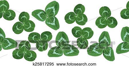 剪贴画 - 三叶草, 绿色的树叶, 水平, seamless, 花环图片