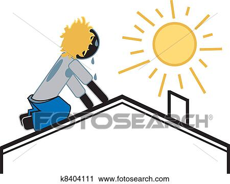 clipart of roofer on a hot sunny day k8404111 search clip art rh fotosearch com sunny day clipart free sunny day clipart free