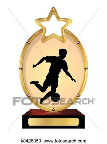 手绘图 - 足球, 奖杯图片