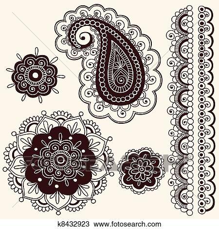 Clipart Of Henna Paisley Flower Doodles Vector K8432923