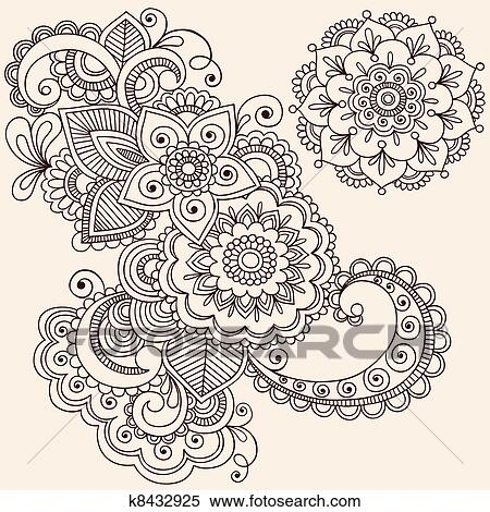 Clipart of Henna Mehndi Tattoo Design Elements k8432925 - Search ...