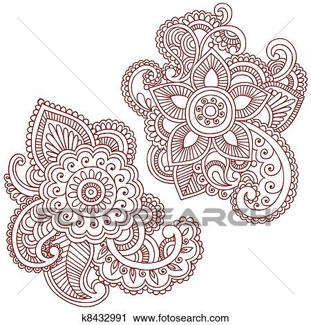 Clipart Of Henna Flower Doodles Vector Design K8432991