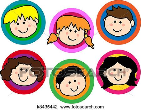 Clipart of Kids face collection k8435442 - Search Clip Art ...