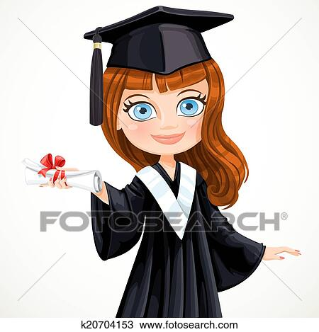 clipart of diploma graduating cute student girl k search  clipart diploma graduating cute student girl search clip art illustration murals