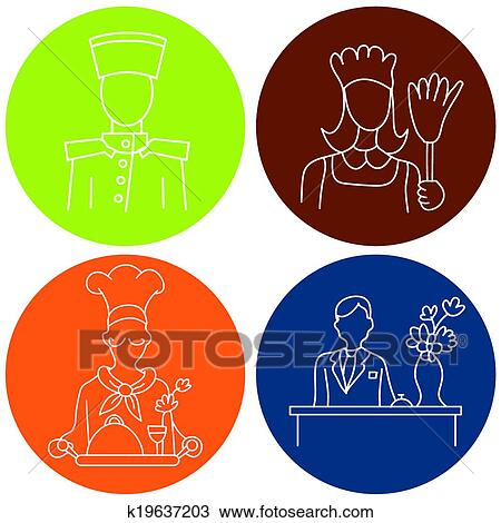 Clipart Of Hotel Staff Icons K19637203