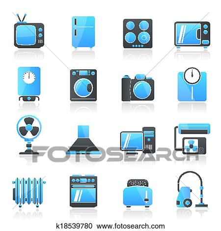 Clipart Of Home Appliances And Electronics Ico K18539780