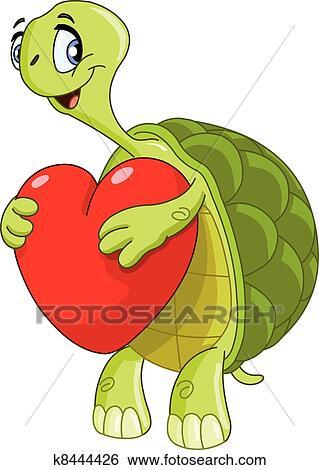 Clipart tortue c ur k8444426 recherchez des cliparts des illustrations des dessins et - Clipart tortue ...