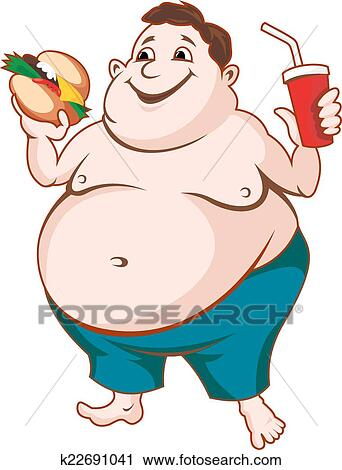 clipart of fat man k22691041 search clip art illustration murals rh fotosearch com Fat Guy Running Clip Art Fat Guy Silhouette