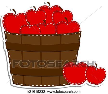 Clipart of Apples in a barrel or basket k21615232 - Search Clip Art, Illustration ...