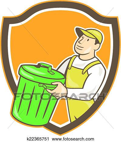 Clipart Garbage Collector Carrying Bin Shield Cartoon Fotosearch Search Clip Art Illustration