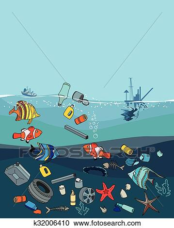Clipart of Water pollution in the ocean. Garbage and waste ...