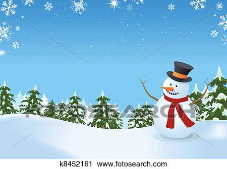 描述, 在中, a, 雪人, 内部, 冬天风景, 带, 松树, firs, 同时,, 空间图片