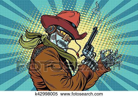 剪贴画 - 机器人, 牛仔, 野的西方, 很好, 姿态图片