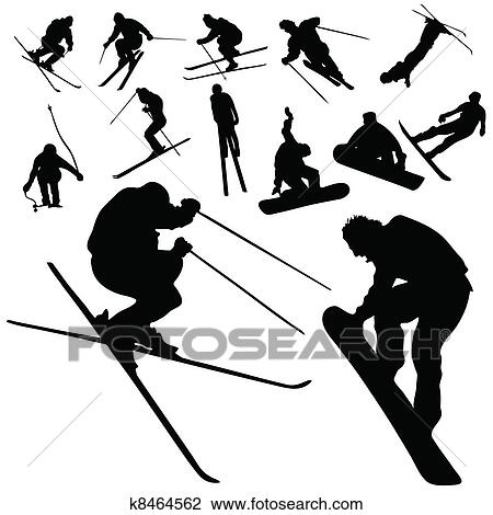 Clipart of ski and snowboarding people silhouette k8464562 ...
