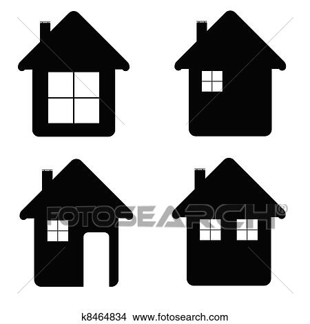 Clipart of house icon illustration in black color k8464834 ...