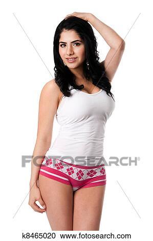 Banco de fotograf as feliz mujer joven en blanco ropa interior k8465020 buscar fotos e - Fotografias de mujeres en ropa interior ...