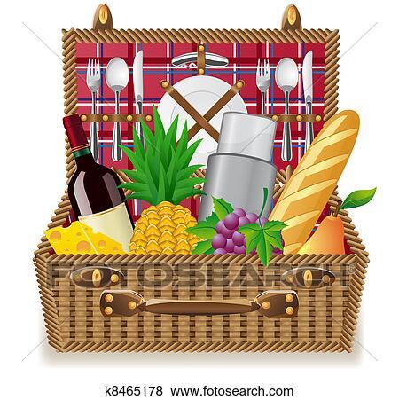 스톡 일러스트 - 바구니, 치고는, a, 피크닉, 와, 식탁용 식기류 ...