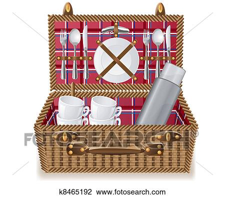 clipart panier pour a pique nique vaisselle k8465192 recherchez des clip arts des. Black Bedroom Furniture Sets. Home Design Ideas