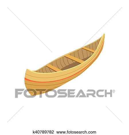 Clipart Of Indian Wooden Canoe Type Boat Icon K40789782