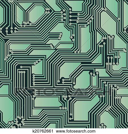 Clipart Of Seamless Electrical Circuit Board K20762661