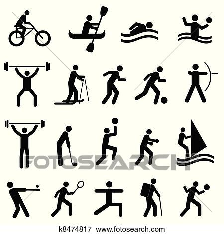 Clip Art of Sports silhouettes k8474817 - Search Clipart ...