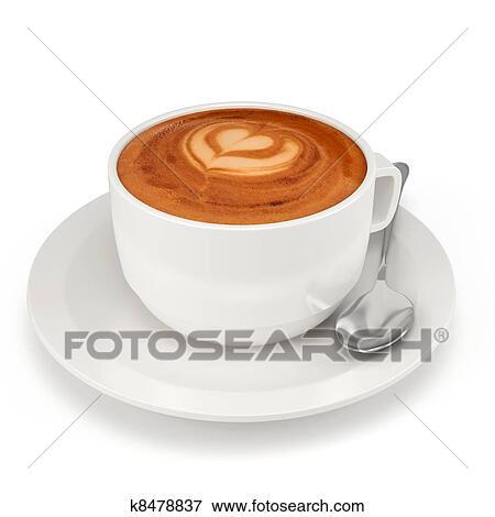 bild 3d kaffeetasse mit platte und l ffel k8478837 suche stockfotografie fotos drucke. Black Bedroom Furniture Sets. Home Design Ideas
