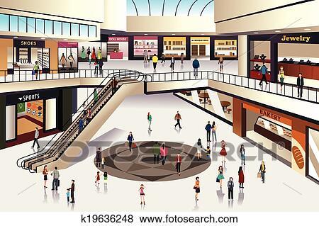 Clipart - centre commercial k19636248 - Recherchez des ...
