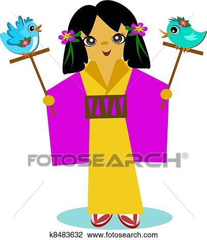 剪贴画 日语, 女孩, 带, 鸟, 棍