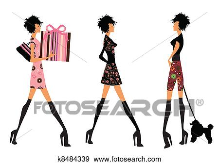 clip art of modern girls k8484339 search clipart illustration rh fotosearch com modern clipart house modern clipart