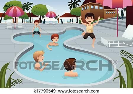 Clipart gosses jouer dans une ext rieur piscine - Clipart piscine ...