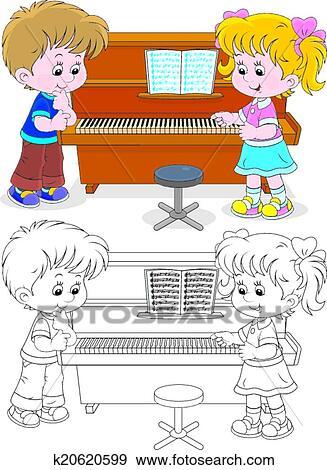 Clip Art - kindern, spielen, a, klavier k20620599 - Suche ...