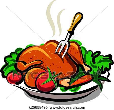 Clipart chaud poulet r ti k25658495 recherchez des clip arts des illustrations des - Dessin de poulet roti ...