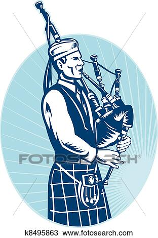 Drawing of Bagpiper Playing Scottish Great Highland Bagpipe ...