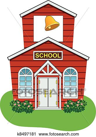 Clipart Of Vector Country School House K8497181