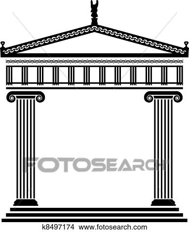 Clipart Of Vector Ancient Greek Architecture K8497174