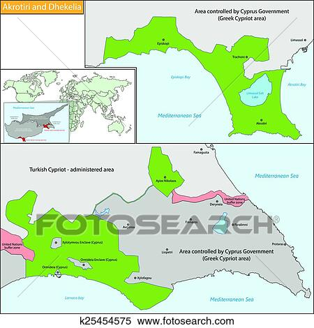 Clipart of Akrotiri and Dhekelia map k25454575 Search Clip Art
