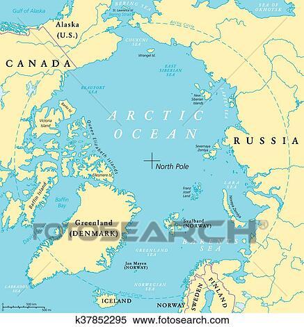 Clipart of Arctic Ocean Map k37852295 Search Clip Art