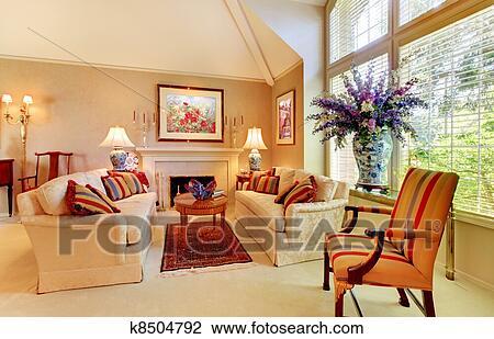 Archivio fotografico elegante lusso soggiorno con for Soggiorno elegante