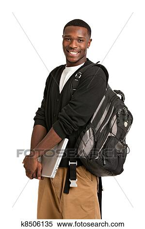 Banco de Imagem - feliz, americano africano, estudante universitário. Fotosearch - Busca de Fotografias, Fotografia Mural, Fotos Clipart