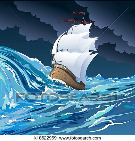 漂流, 在中, 有暴风雨的海洋, 对, 多云, 夜晚天空, 画, 在中, 卡通图片