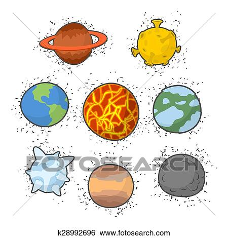 Clip Art of Set planets solar system. Funny cartoon planet ...