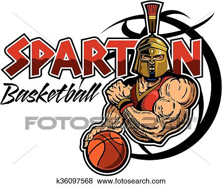 clip art of spartan basketball k36097568 search clipart rh fotosearch com spartan clipart free spartan head clipart