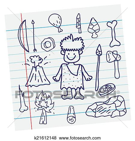 Clip Art of Vector outline image. Stone age cartoon primitive and ...