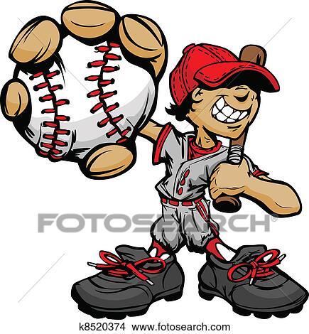 Clipart of Kid Baseball Player Holding Basebal k8520374 - Search ...