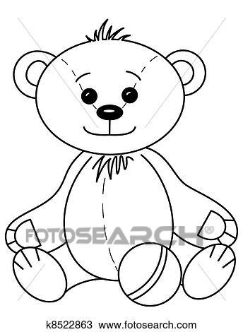手绘图 - 玩具熊, 带,