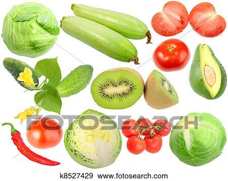 Archivio illustrazioni set di frutta fresche verdure for Kiwi giallo piante acquisto