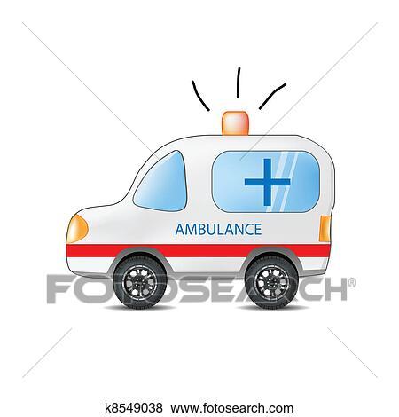 Colección de ilustraciones - divertido, caricatura, ambulancia ...